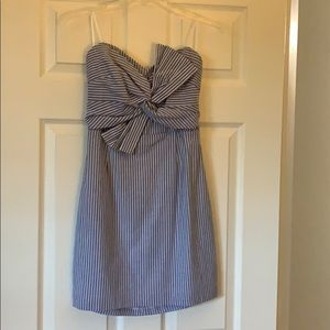 Adorable blue and white striped mini summer dress